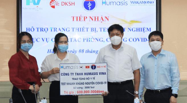 Công ty Humasis Vina hỗ trợ 3.000 test nhanh kháng nguyên COVID-19 do Humasis Hàn Quốc sản xuất tương đương 600 triệu đồng cho Bộ Y tế