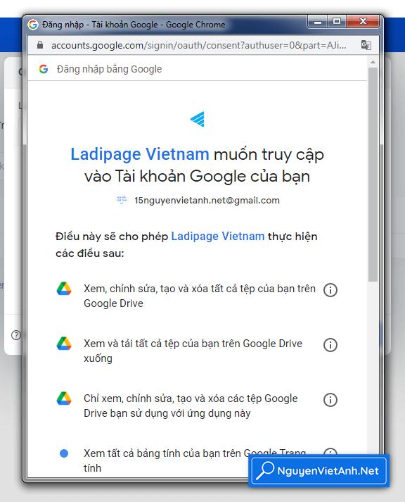 Ladipage Vietnam muốn truy cập vào Tài khoản Google của bạn