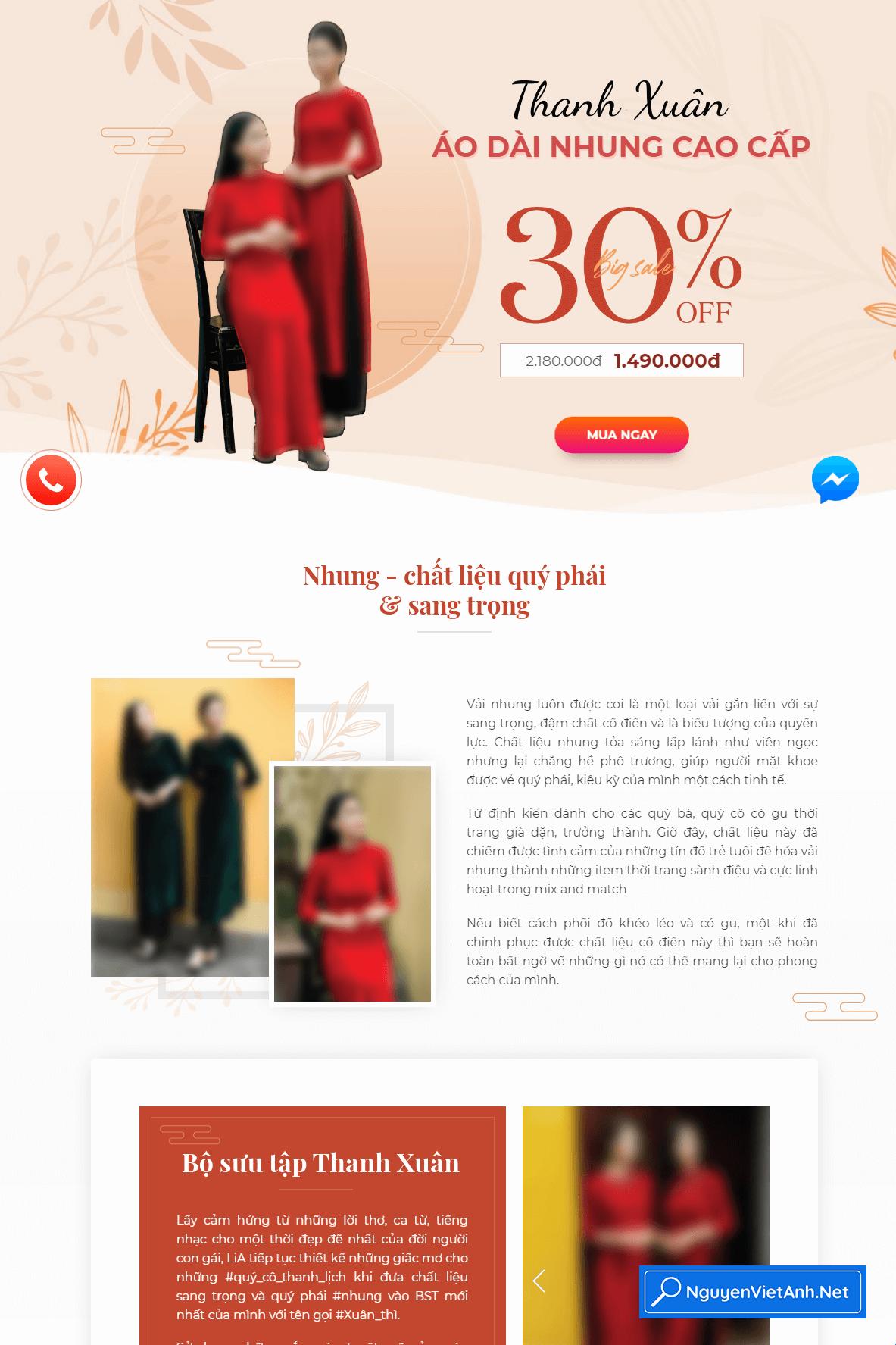 Mẫu theme ladipage đẹp về thời trang Áo dài -H012105