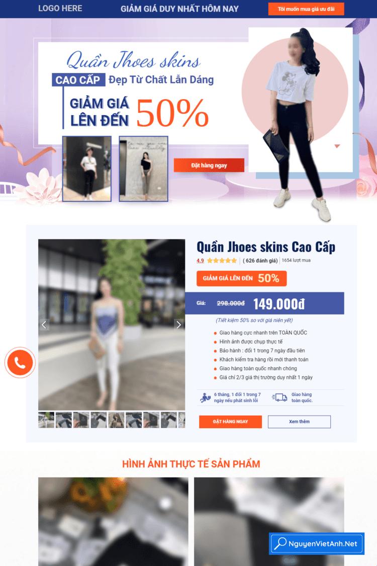 Mẫu theme ladipage đẹp về thời trang Quần Jhoes skins - N072010