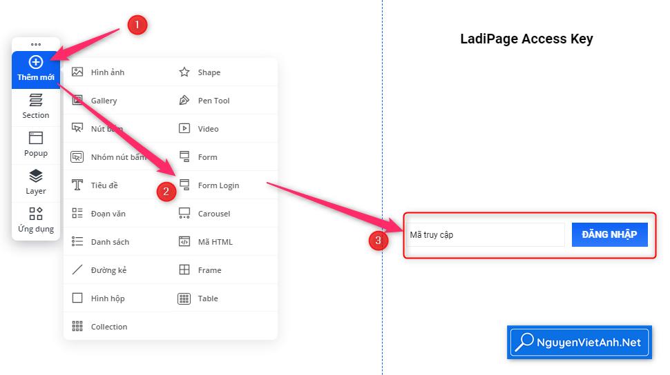 Trang dang nhap LadiPage Access Key