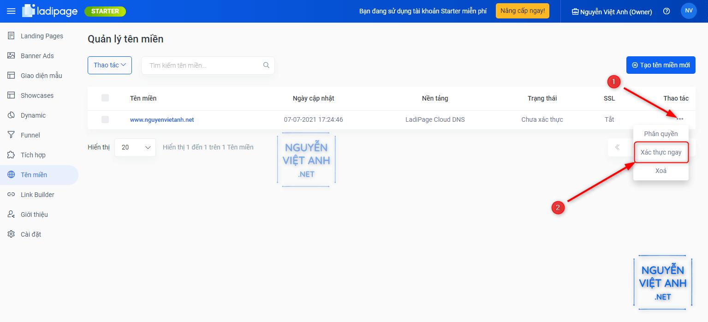 Xác thực tên miền trong ladipage