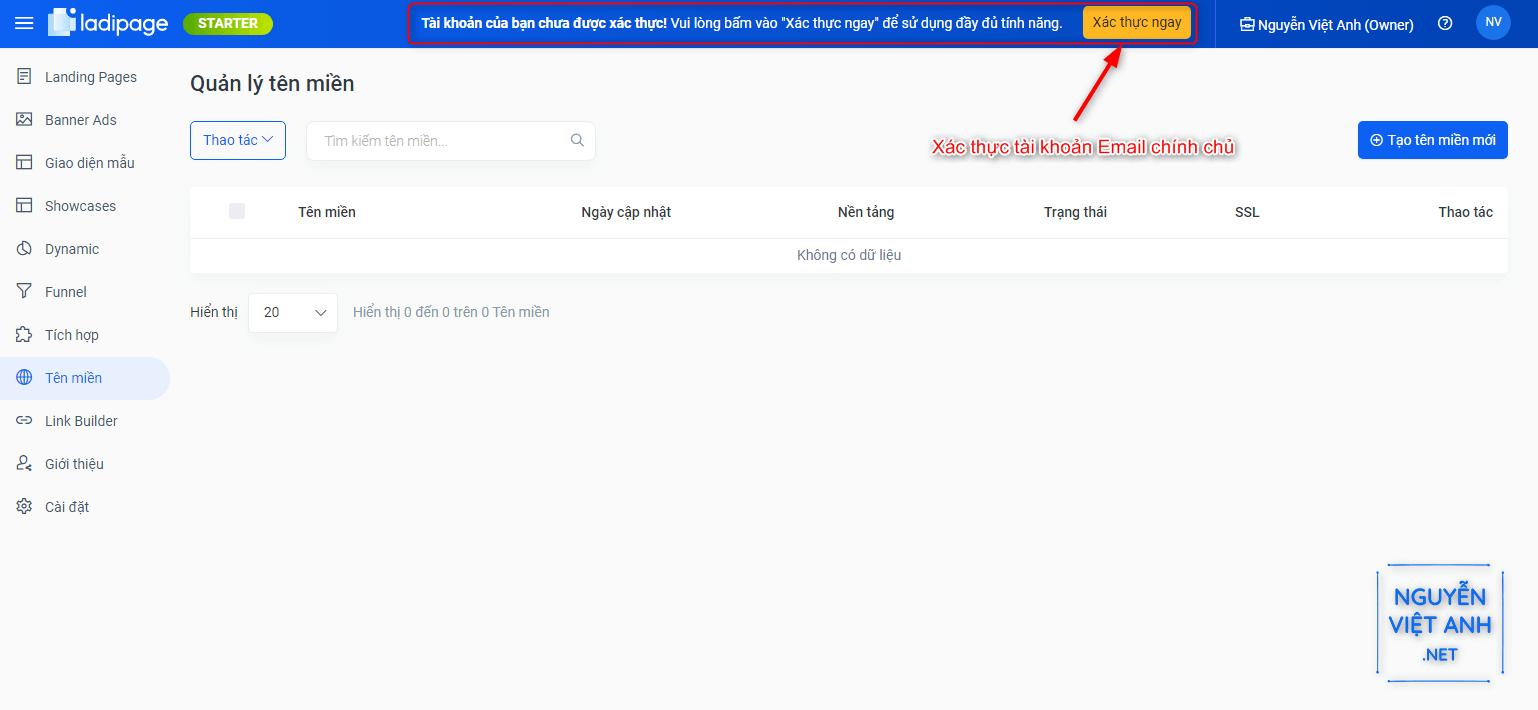 xác thực email tài khoản ladipage