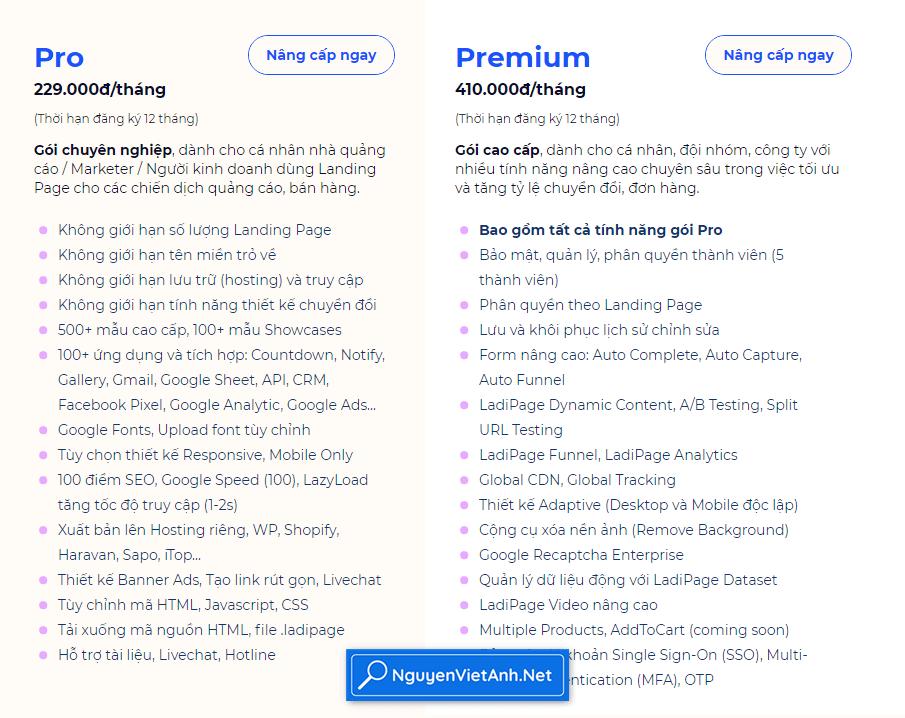 Bảng giá nâng cấp tài khoản ladipage
