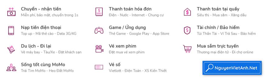 Các tiện ích của App Momo