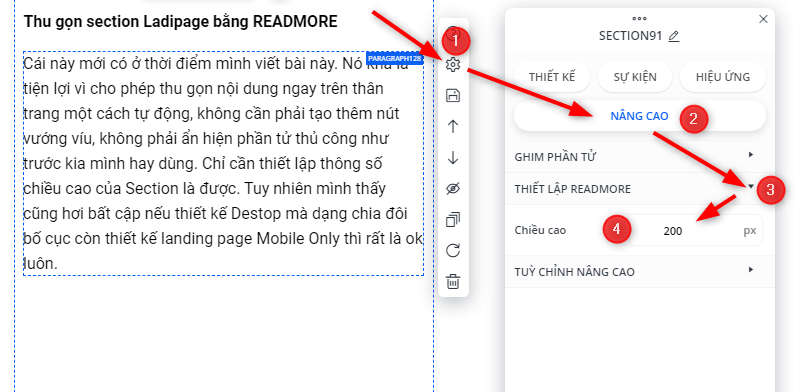 Thiết lập READMORE trong Ladipage