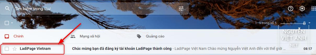 Thư gửi Email xác nhận đăng ký tài khoản Ladipage thành công