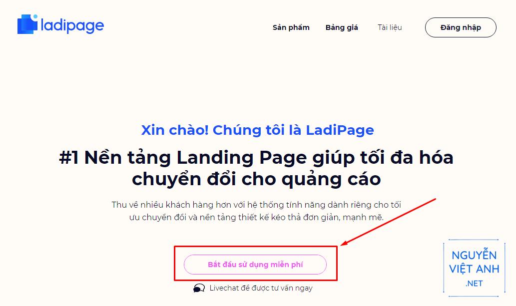 Hướng dẫn tạo tài khoản Ladipage